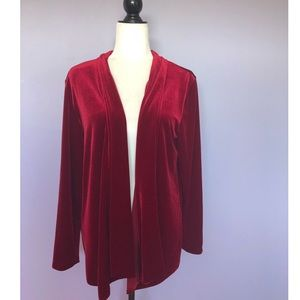 Chico's red crushed velvet cardigan jacket
